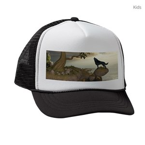 Black Wolf Kids Trucker Hats - CafePress 22406442d493