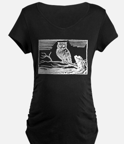 Antique Woodcut Owl on Branch Maternity T-Shirt
