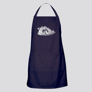 Antique Woodcut Aesop's Crow Apron (dark)