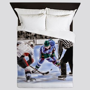 Ice Hockey Players and Referee Queen Duvet