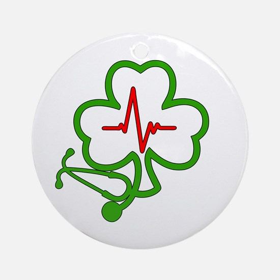 Shamrock Stethoscope Heartbeat Round Ornament