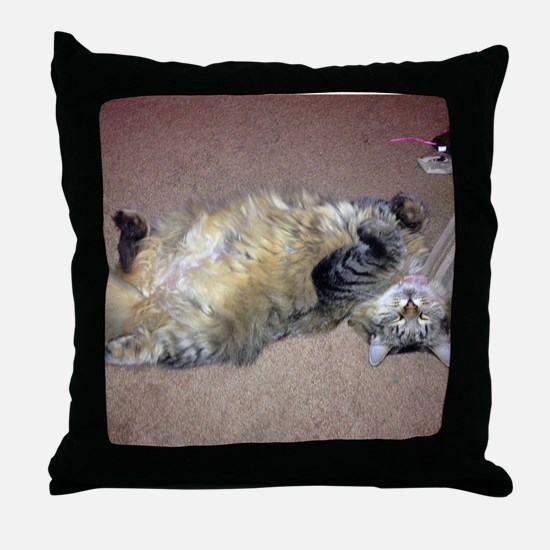 Very Happy Formerly Stray Maine Coon Throw Pillow