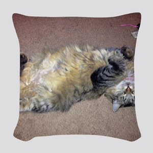Very Happy Formerly Stray Maine Woven Throw Pillow