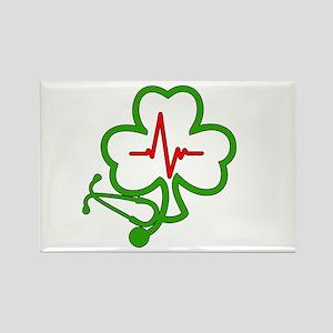 Shamrock Stethoscope Heartbeat Rectangle Magnet