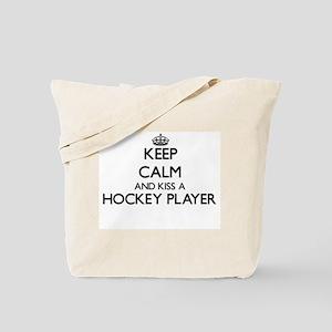 Keep calm and kiss a Hockey Player Tote Bag