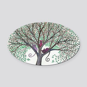 Morovis Stray Cats in Tree Oval Car Magnet