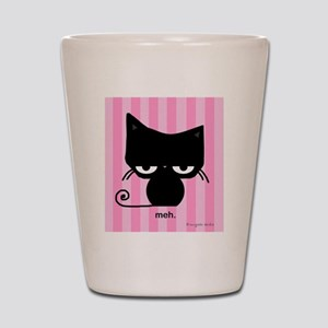 Meh Cat on Pink Stripes Shot Glass