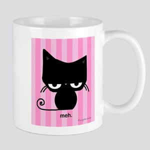 Meh Cat on Pink Stripes Mugs