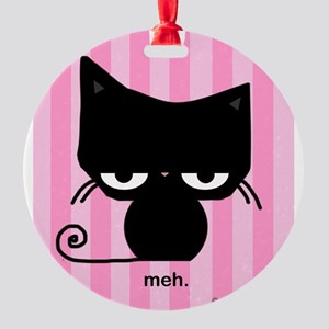 Meh Cat on Pink Stripes Ornament