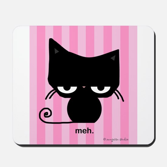Meh Cat on Pink Stripes Mousepad