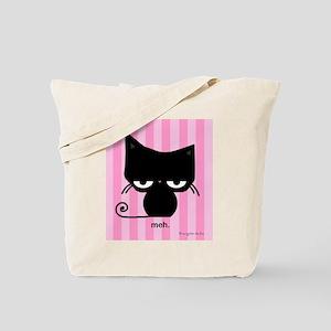 Meh Cat on Pink Stripes Tote Bag