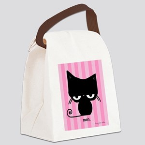 Meh Cat on Pink Stripes Canvas Lunch Bag
