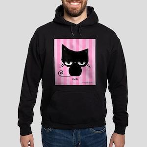 Meh Cat on Pink Stripes Hoodie