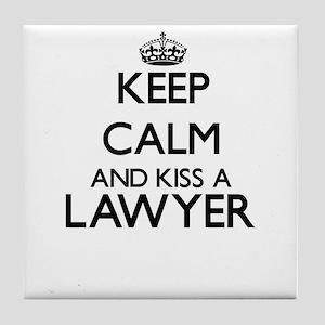Keep calm and kiss a Lawyer Tile Coaster