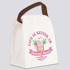 Life's Better In Newport Beach Canvas Lunch Bag