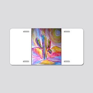 Saguaro cactus, southwest art Aluminum License Pla