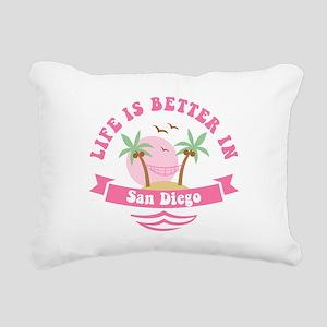 Life's Better In San Die Rectangular Canvas Pillow