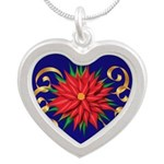 Poinsettia On Blue Necklaces