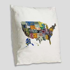 america license Burlap Throw Pillow