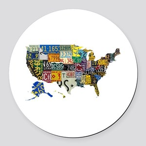 america license Round Car Magnet