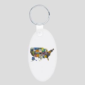 america license Aluminum Oval Keychain