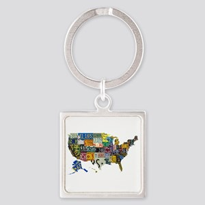 america license Square Keychain