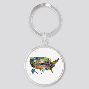 america license Round Keychain