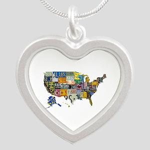 america license Silver Heart Necklace