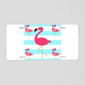 Pink Flamingo Teal Stripes Aluminum License Plate