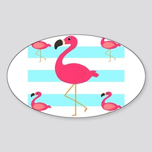 Pink Flamingo Teal Stripes Sticker