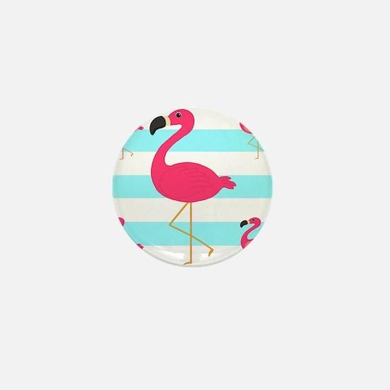 Pink Flamingo Teal Stripes Mini Button