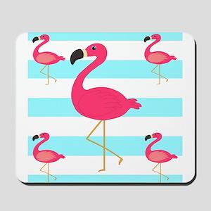 Pink Flamingo Teal Stripes Mousepad
