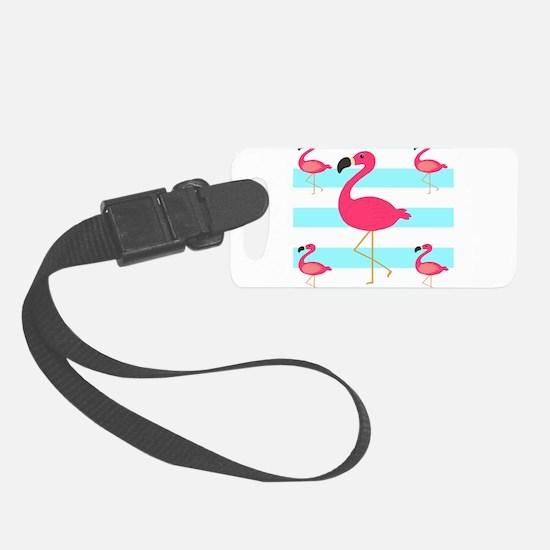 Pink Flamingo Teal Stripes Luggage Tag