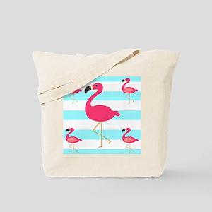 Pink Flamingo Teal Stripes Tote Bag