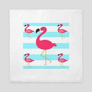 Pink Flamingo Teal Stripes Queen Duvet