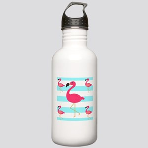 Pink Flamingo Teal Stripes Water Bottle