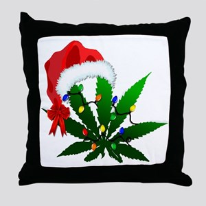 Weed Holiday Tree Throw Pillow