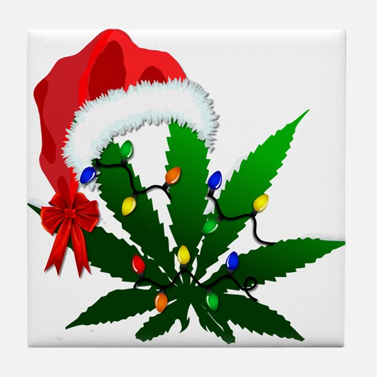 Weed Holiday Tree Tile Coaster