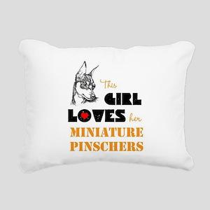 Girl Loves her Min Pins Rectangular Canvas Pillow