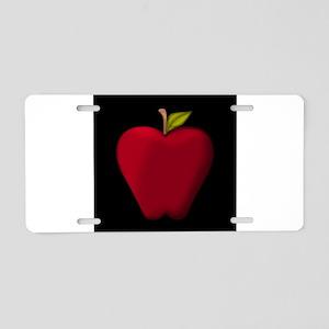 Red Apple on Black Aluminum License Plate