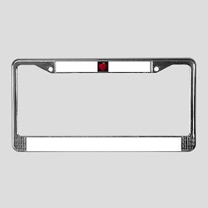 Red Apple on Black License Plate Frame