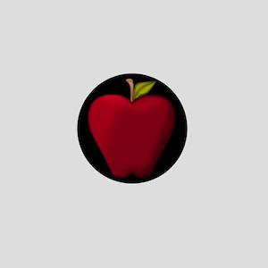 Red Apple on Black Mini Button