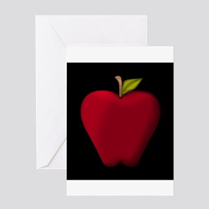 Red apple greeting cards cafepress red apple on black greeting cards m4hsunfo