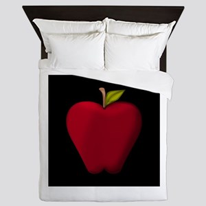 Red Apple on Black Queen Duvet