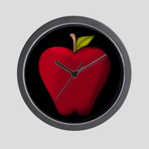 Red Apple on Black Wall Clock