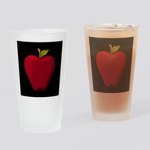 Red Apple on Black Drinking Glass