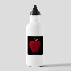 Red Apple on Black Water Bottle