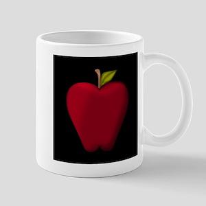Red Apple on Black Mugs