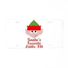 Santas Favorite Little Elf Aluminum License Plate
