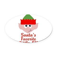 Santas Favorite Little Elf Oval Car Magnet